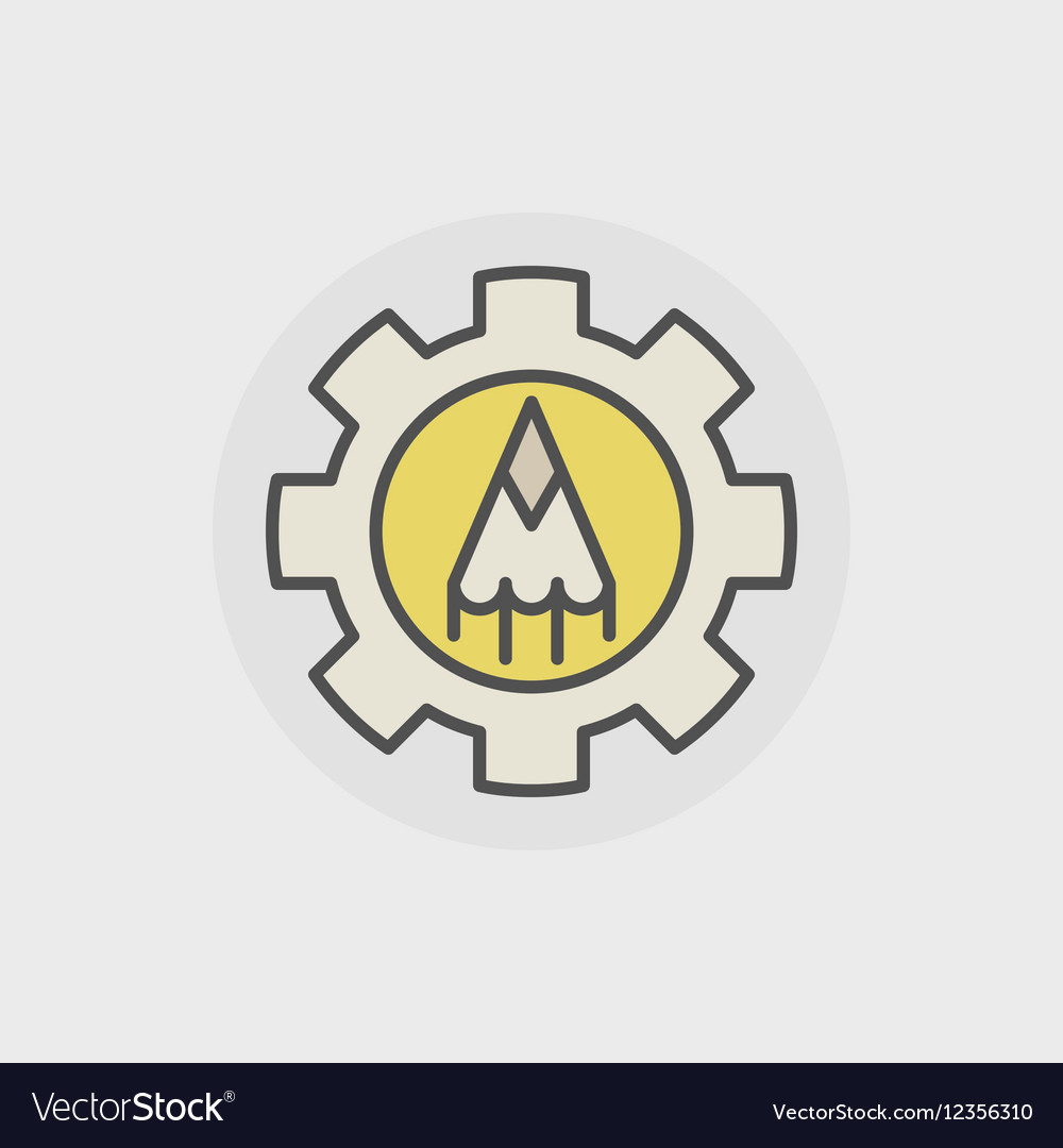 Colorful pencil with gear icon vector image