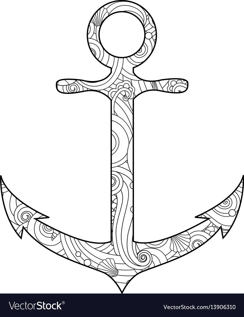 Coloring page with anchor isolated on white