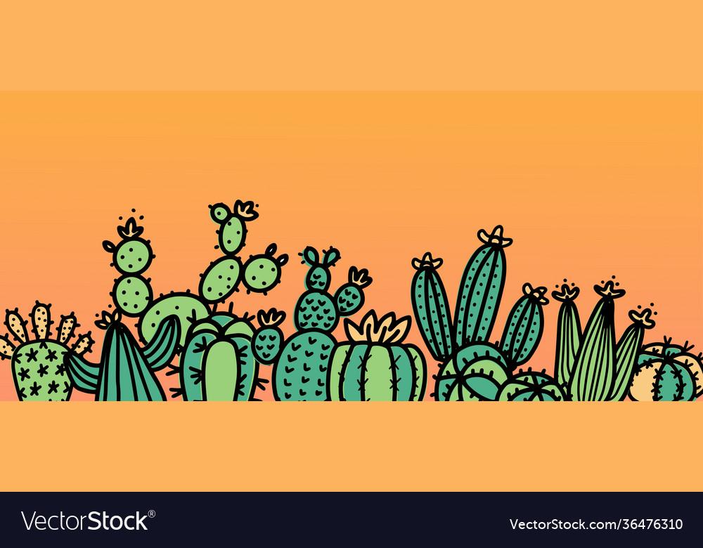 Cute cactus doodle background mix