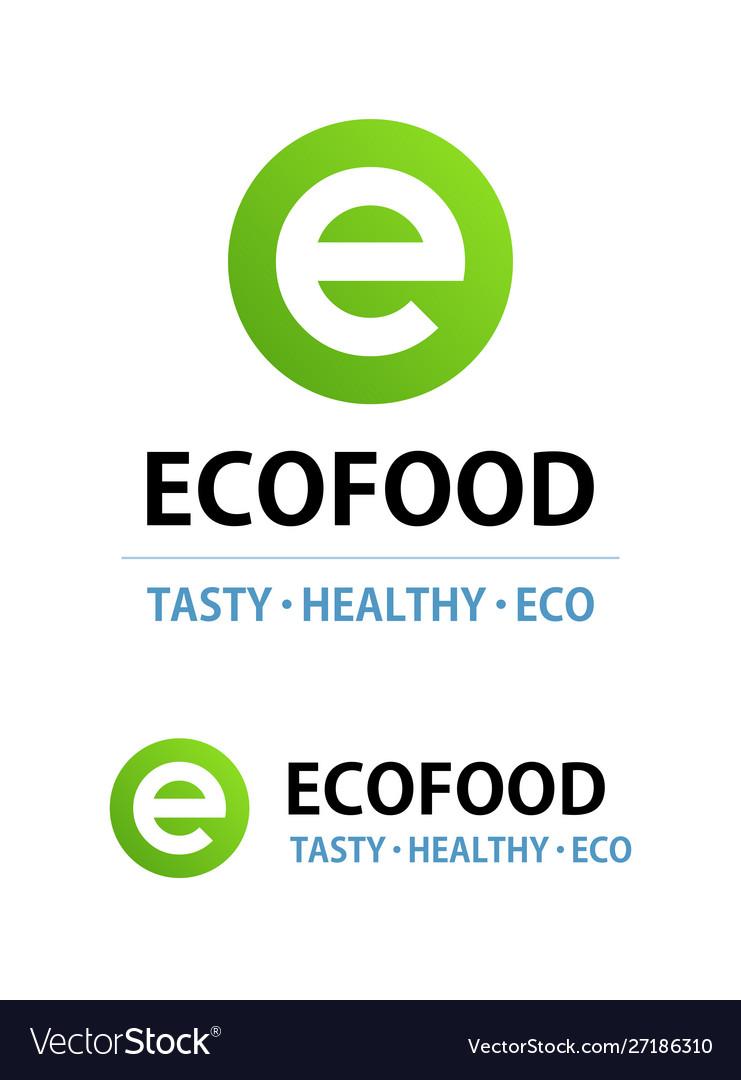 Eco food logo isolated on white round emblem for