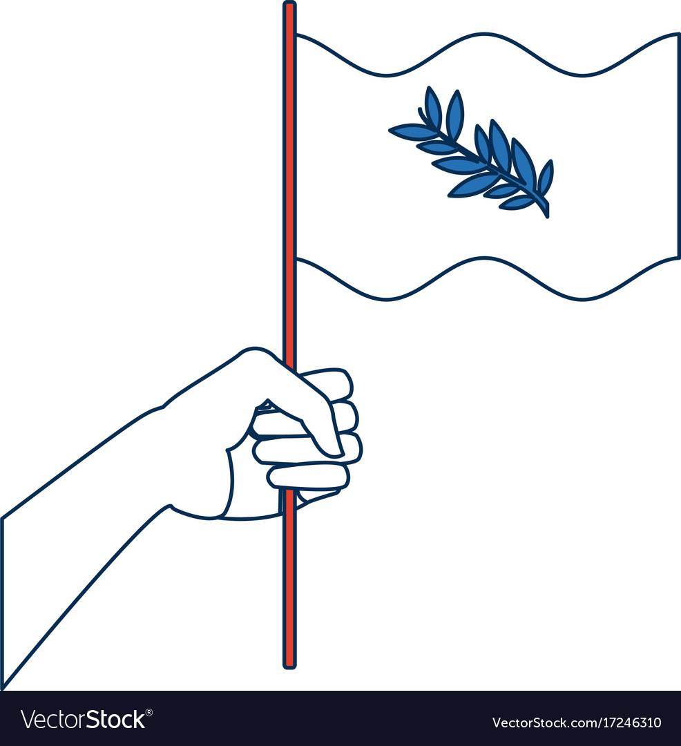 Hand Waving A Peace Flag Symbol Royalty Free Vector Image