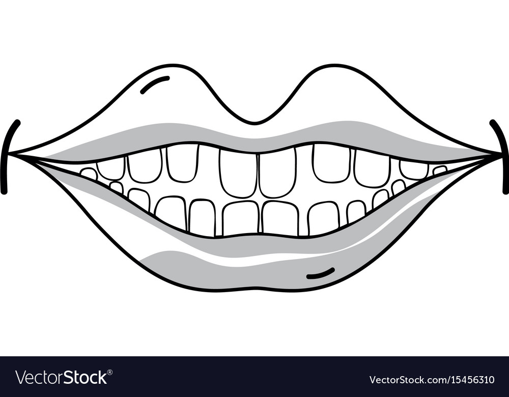 Line happy mouth with teeth design icon