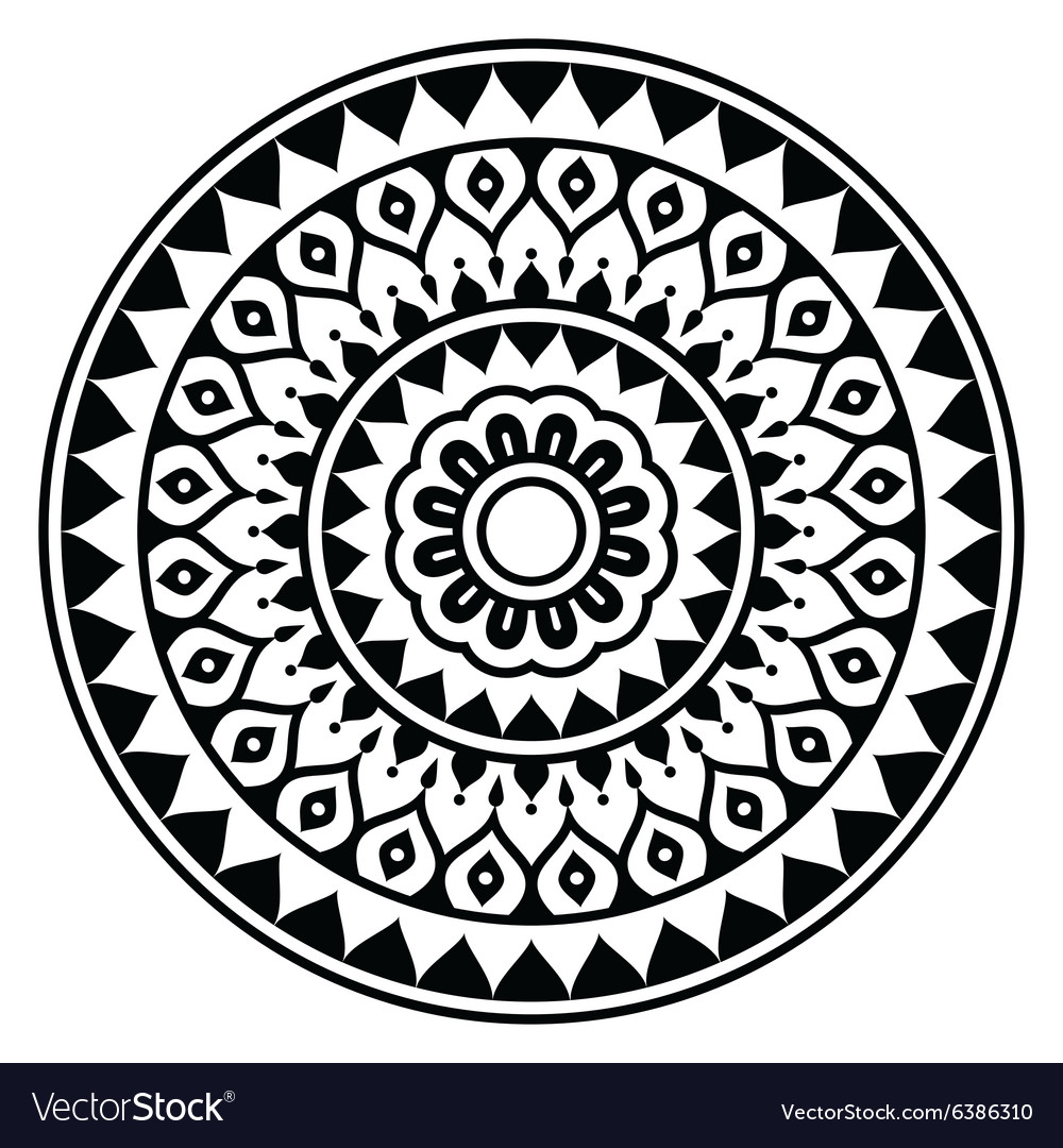 Mandala Indian inspired round geometric pattern