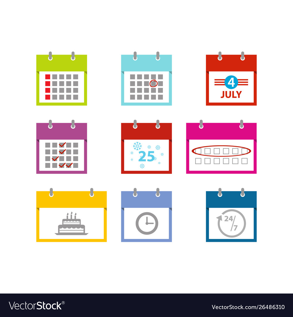 Multicolored calendar icons set for web design