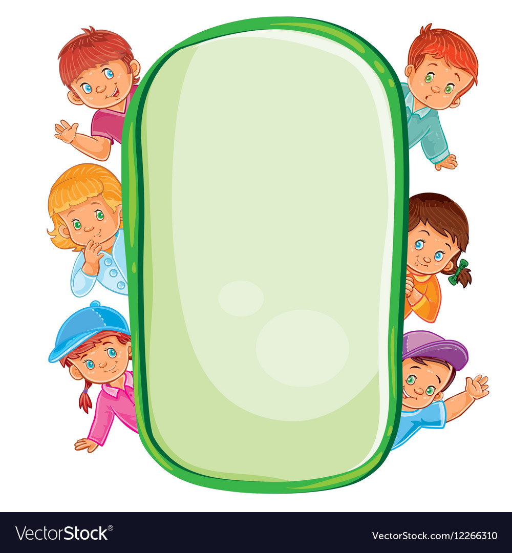 Poster with young children looking out of frame