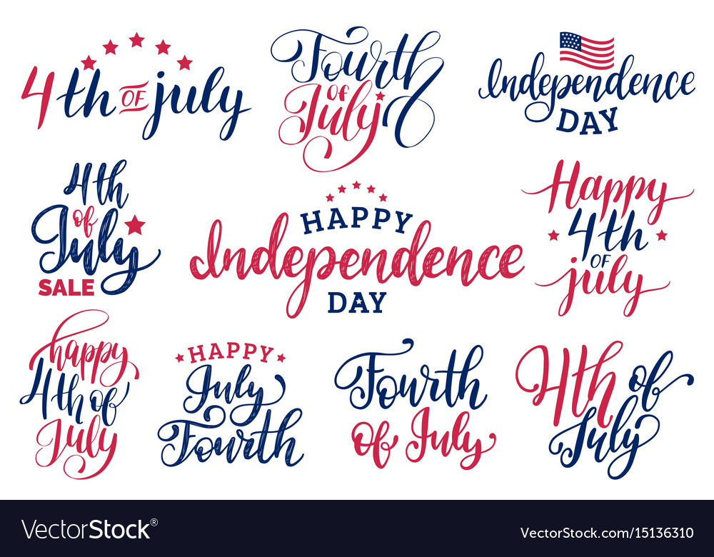 Set fourth of july hand lettering