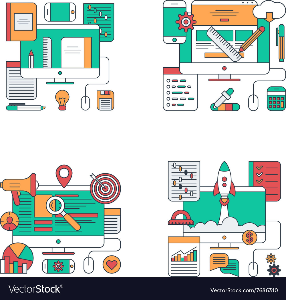Set of Thin Line Flat Style Concept for Design and