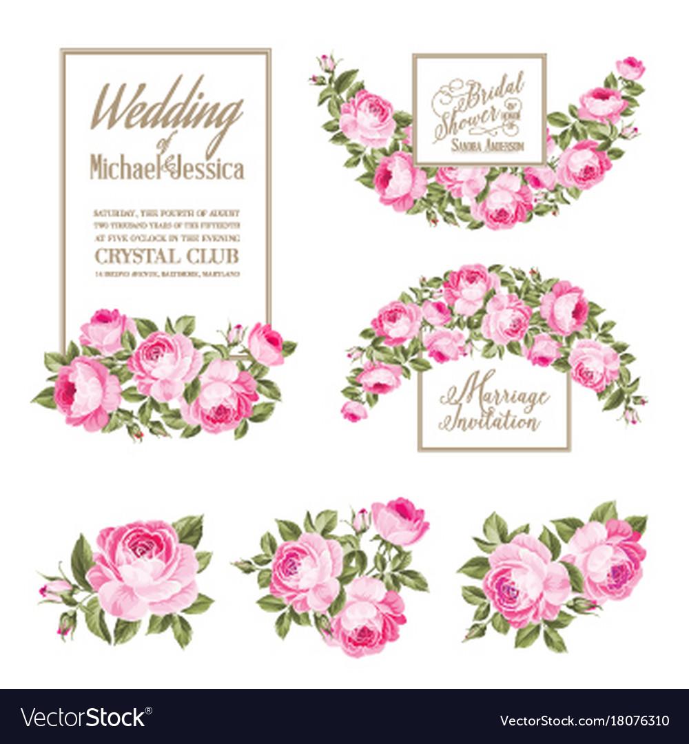Set of wedding invitation card the rose elegant
