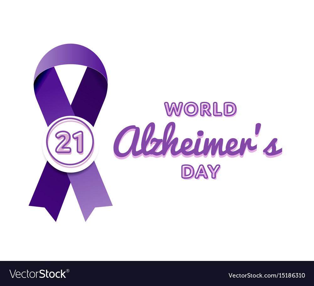 World alzheimers day greeting emblem vector image