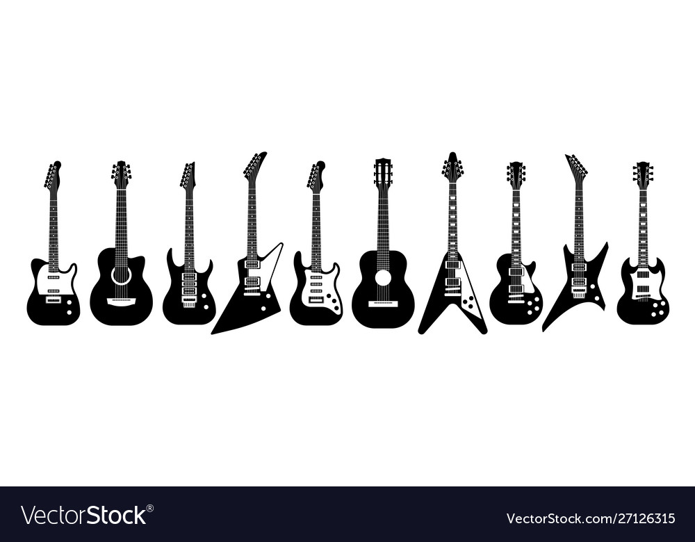 Black and white guitars acoustic and electric