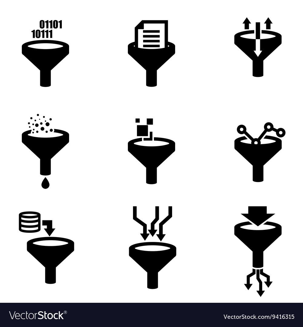 Black filter data icon set vector image