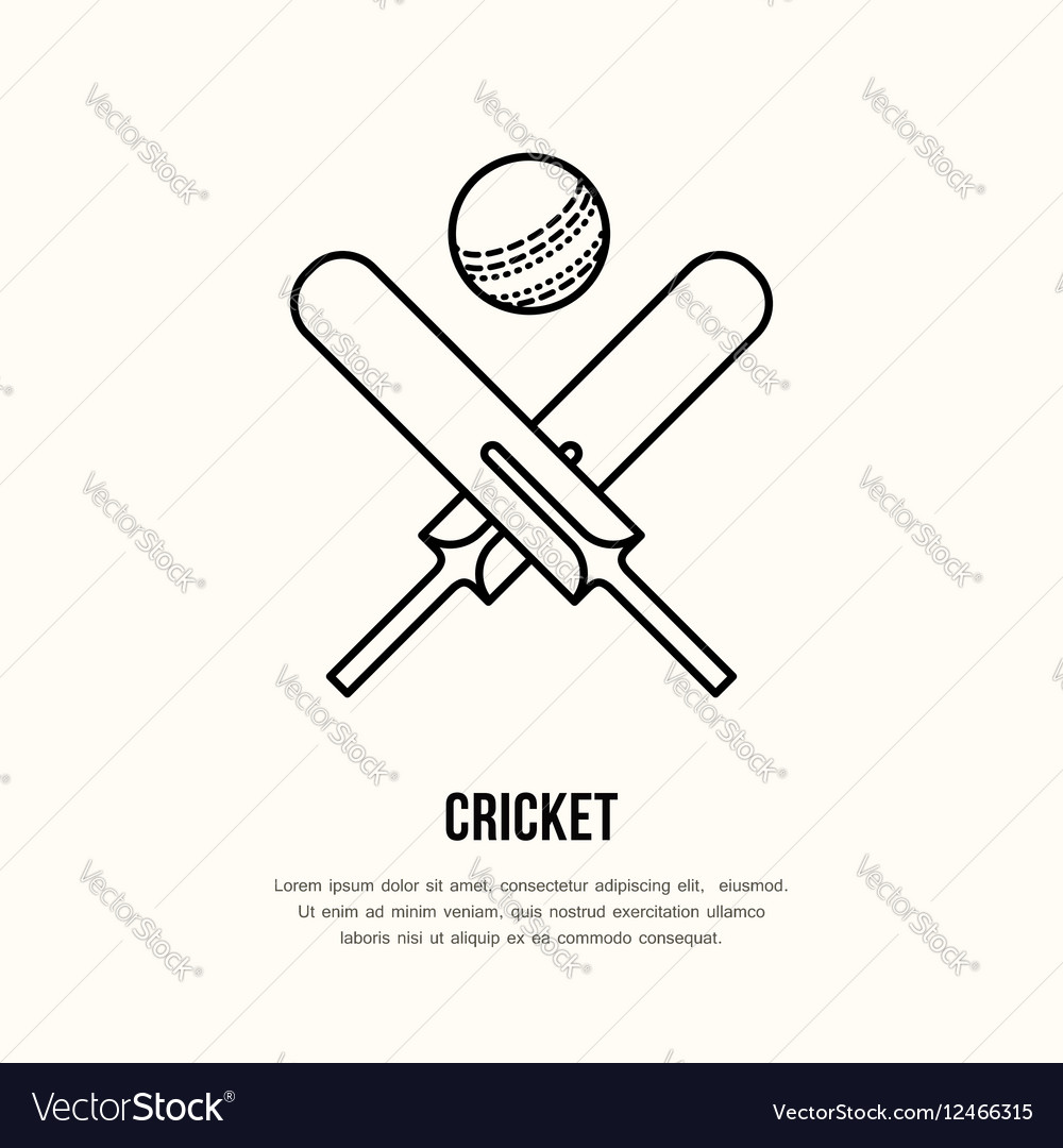 Cricket line icon Bats and ball logo