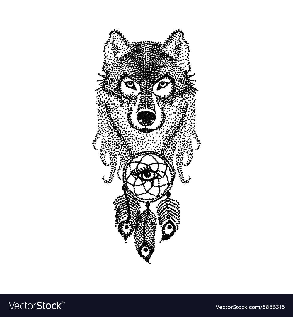 Dotwork Tattoo Design Stylized Wolf Face Vector Image