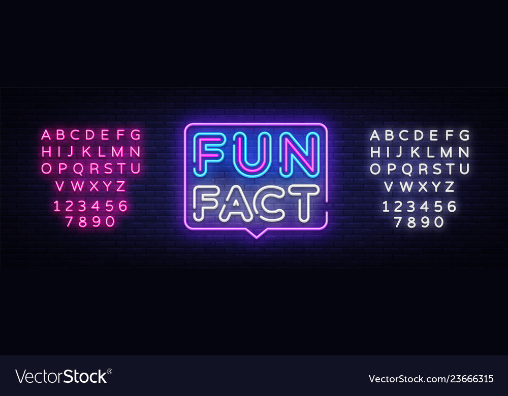Fun fact neon sign facts design template