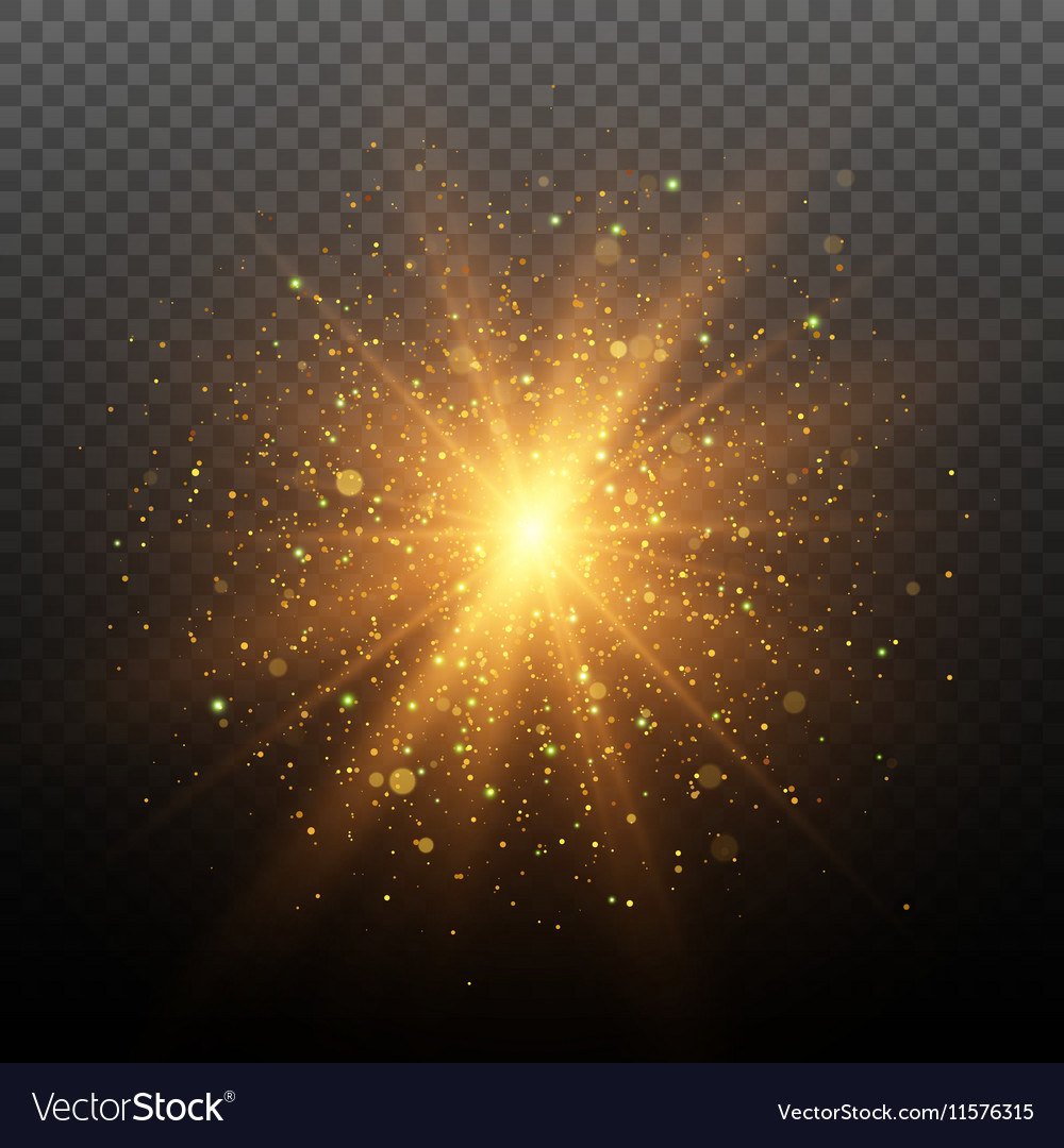 Light effect Star burst with sparkles vector image