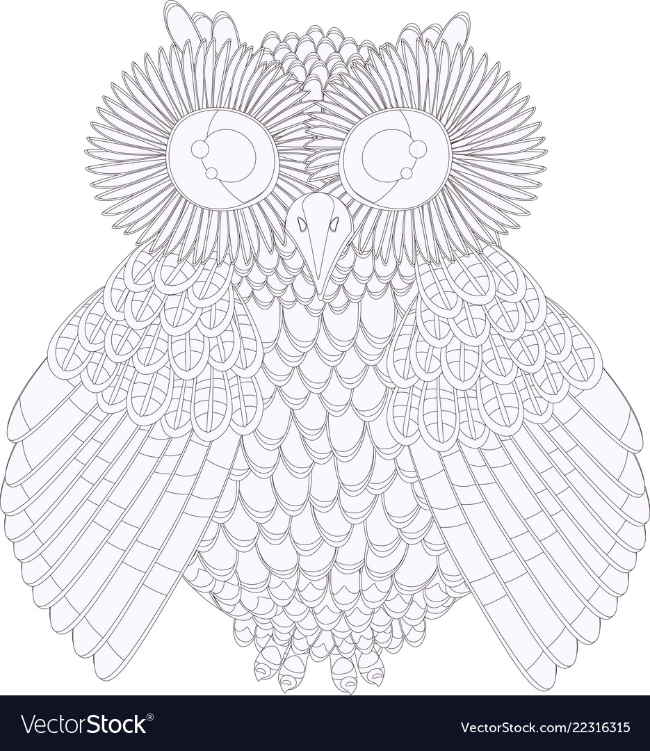 Owl coloring black and white