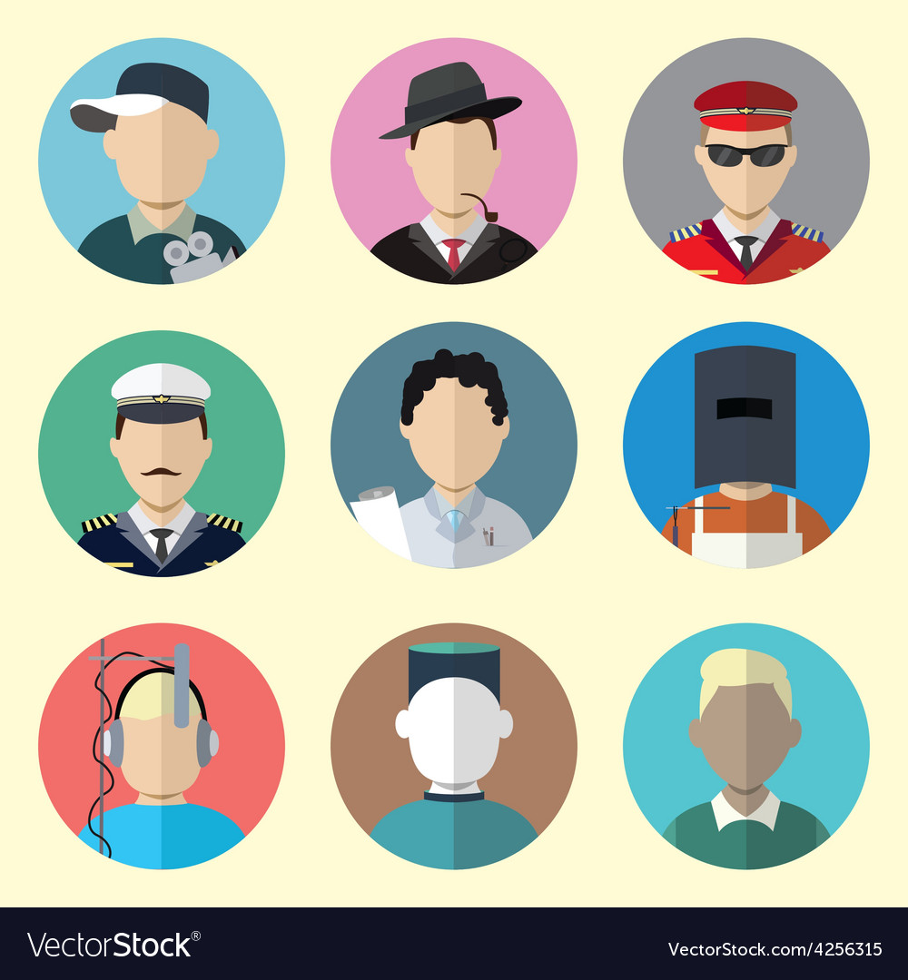 Set of Circle Icons with Man Different Professions