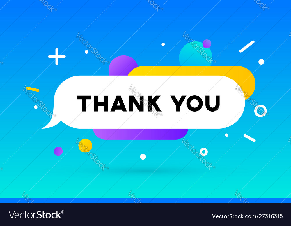 Thank you banner speech bubble poster and