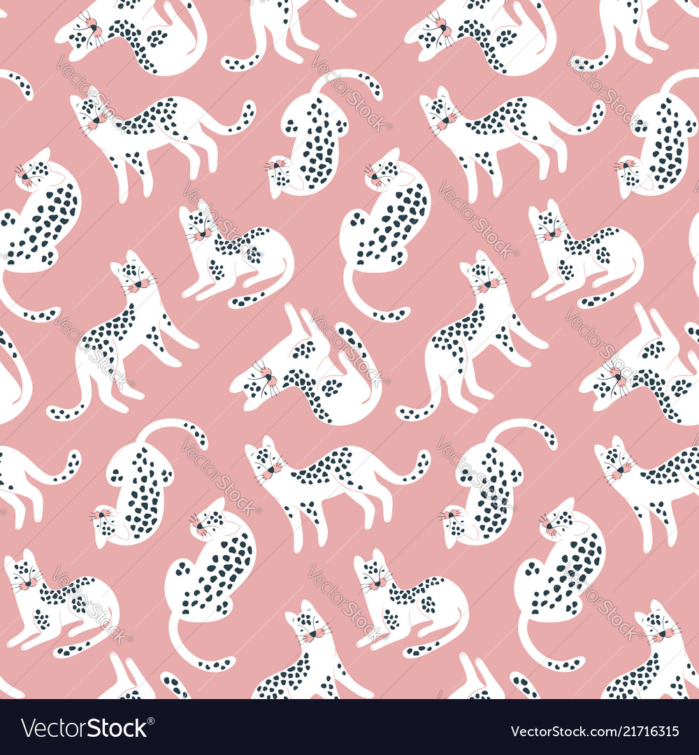 Trendy hand drawn seamless pattern with white