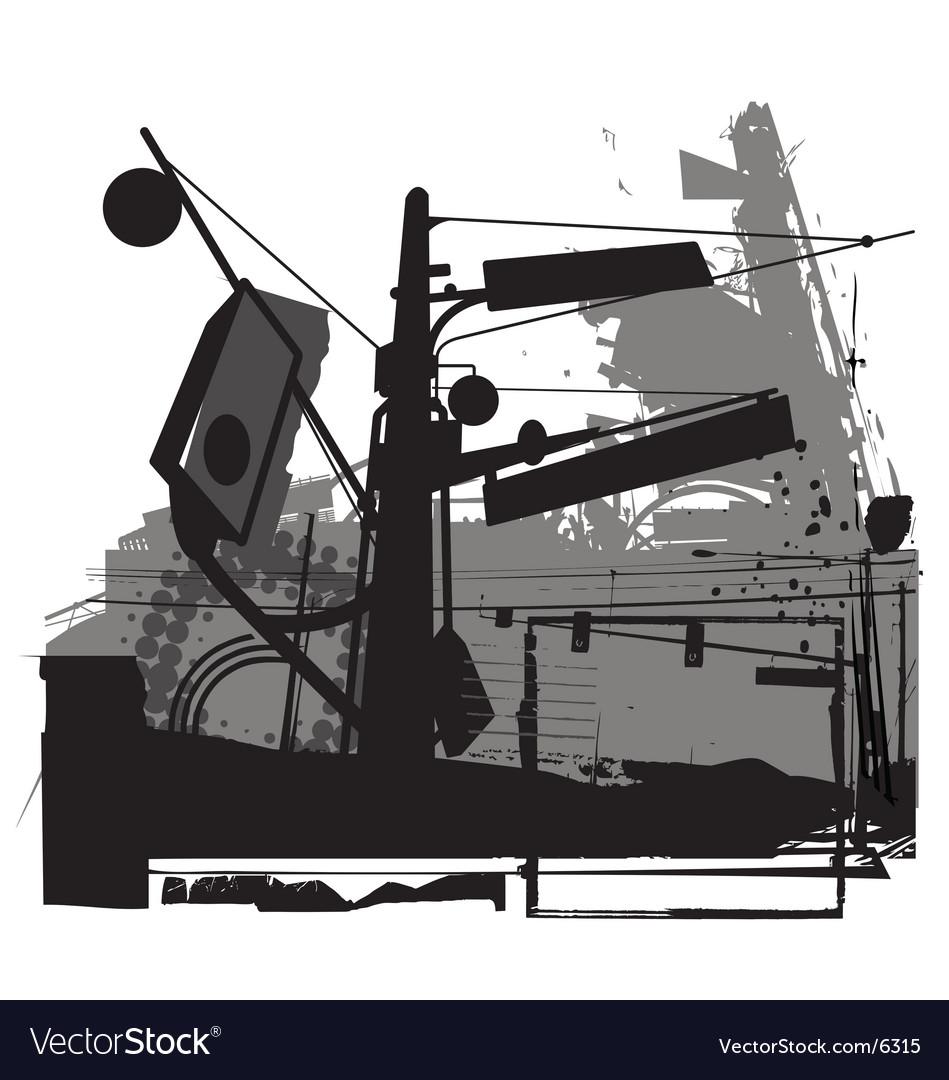 Urban grunge street scene vector image