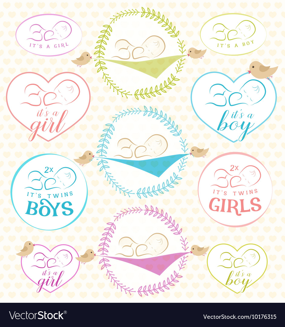 Vintage Baby Girl and Boy Badge Set vector image