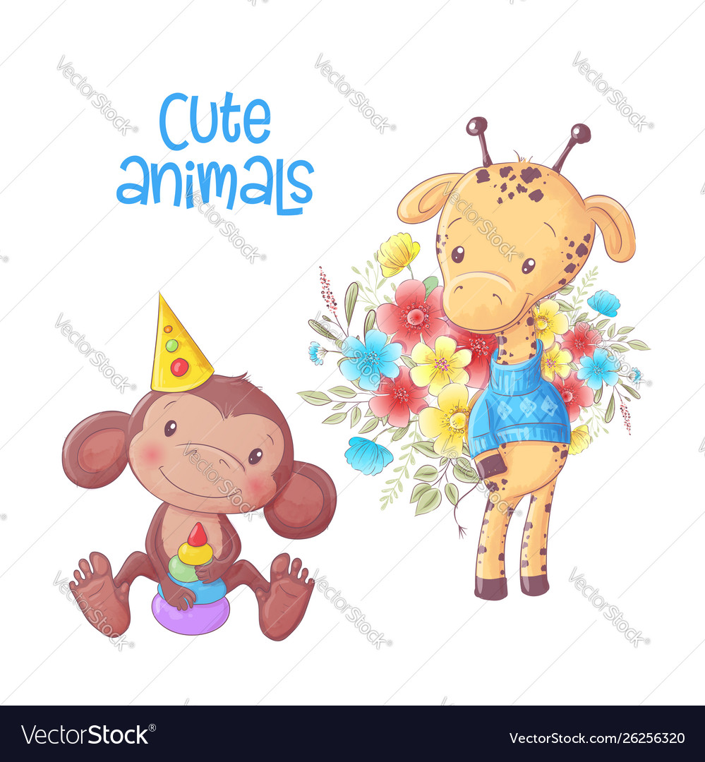Cute cartoon animals monkey and giraffe hand