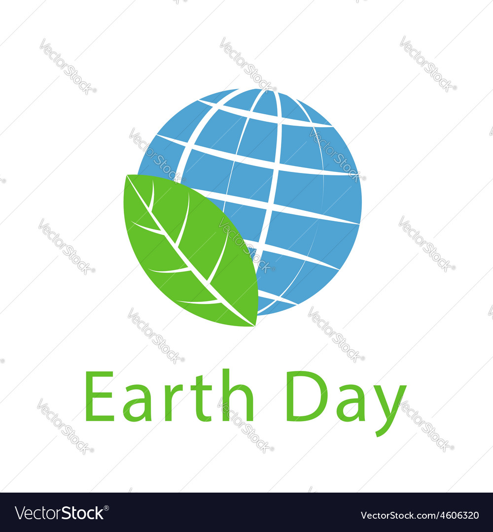 Globe and leaf Earth day icon ecology logo