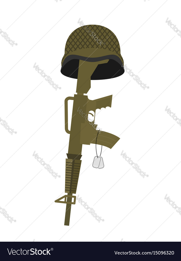 Grave soldier helmet and gun instead of cross