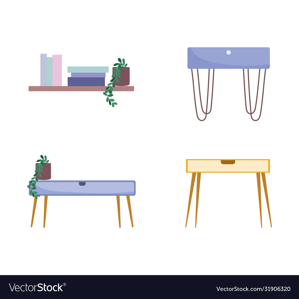 Home room table shelf potted plants and books