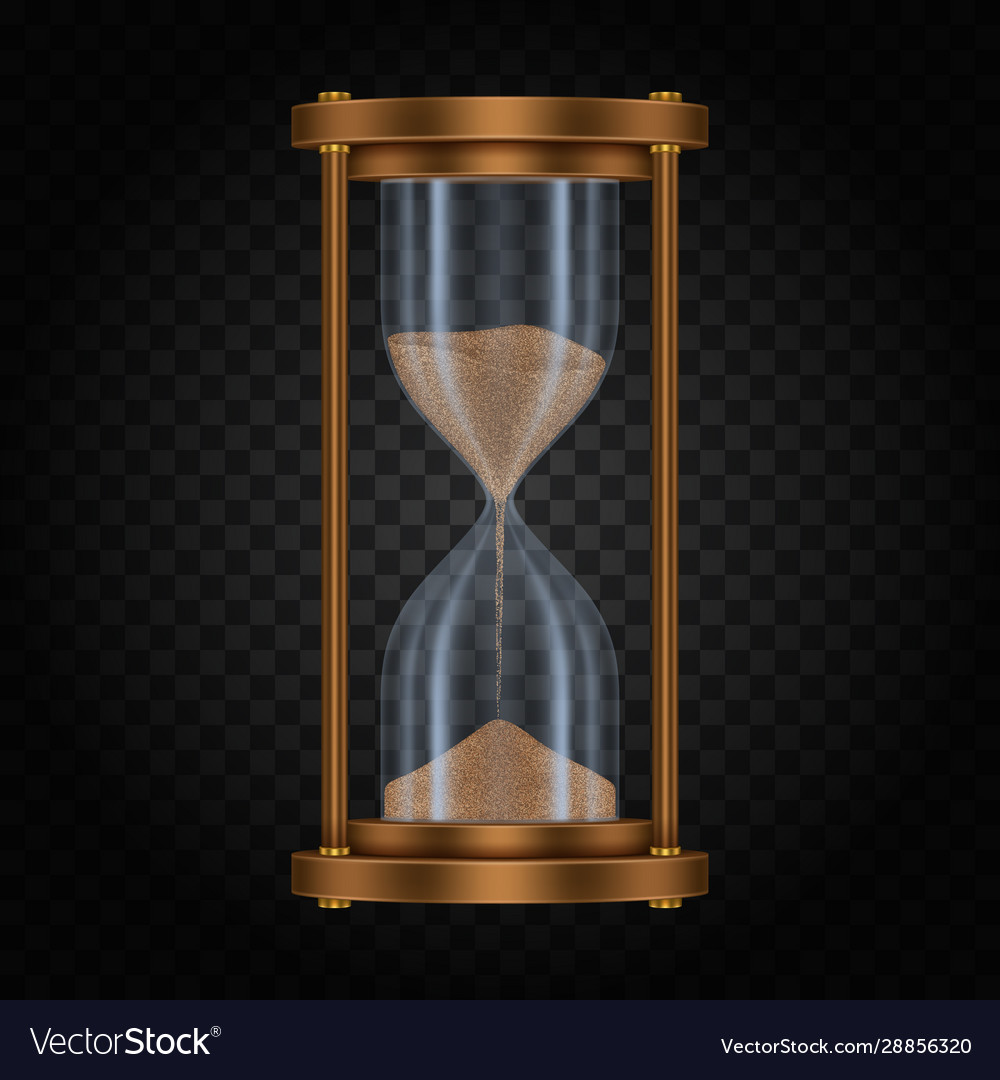 Hourglass with sand on transparent