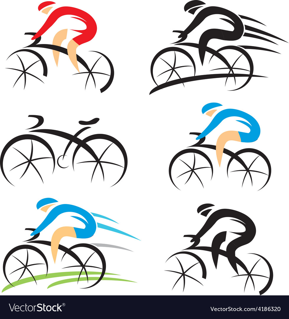 Icons with stylized cyclist vector image