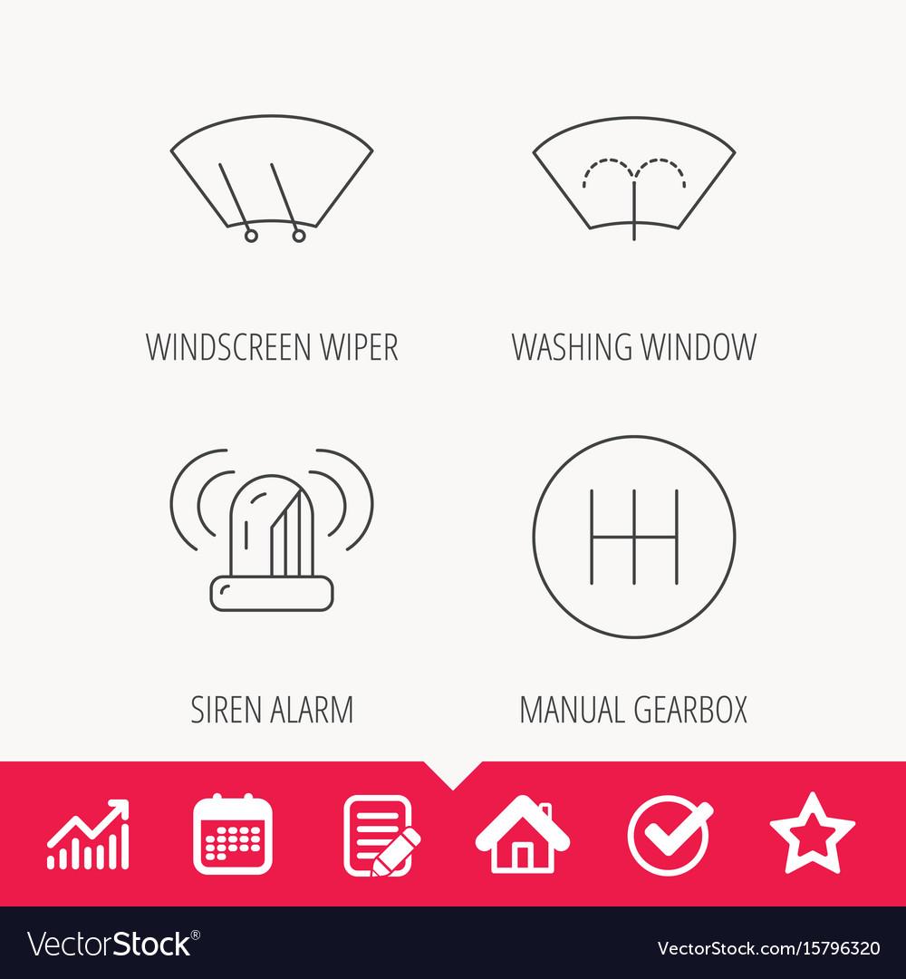 Manual gearbox siren alarm and washing window