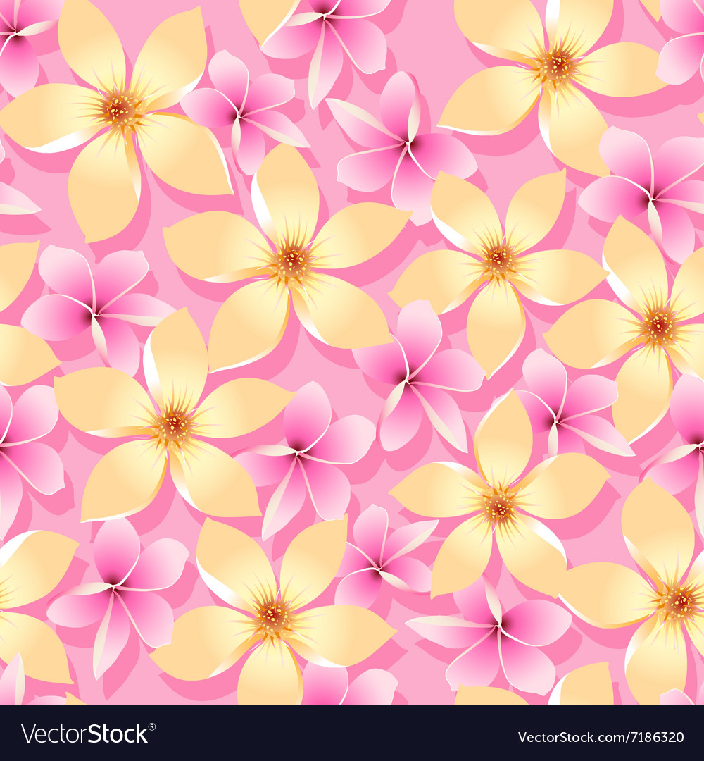 Pink and orange tropical flowers seamless pattern