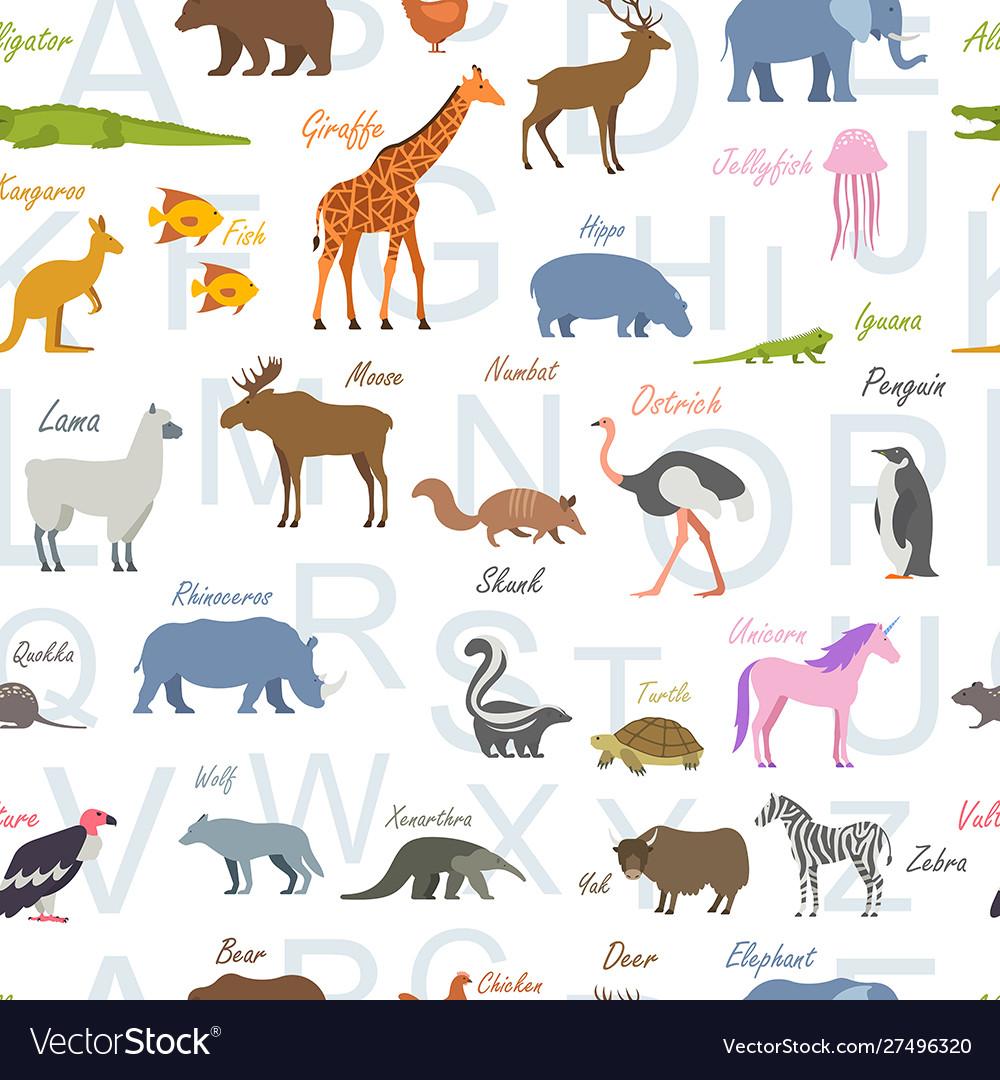Seamless pattern with zoo alphabet animal alphabet