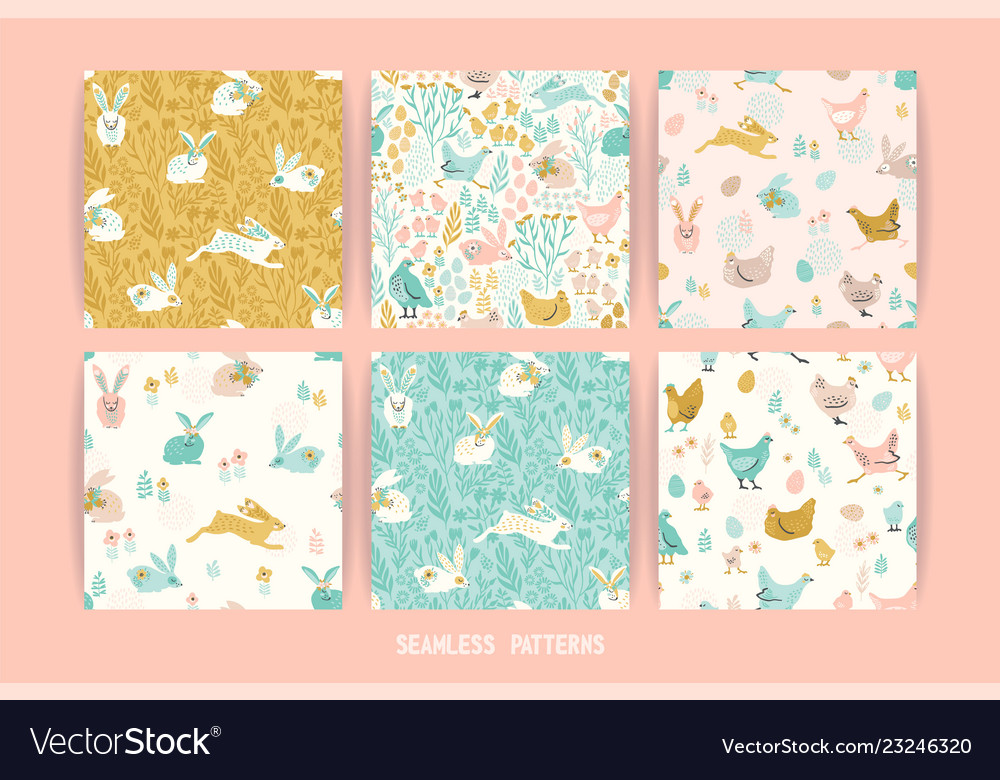 Seamless patterns with bunnies and chicken