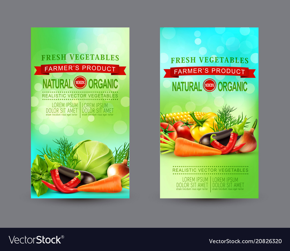 Set of two vertical banners with realistic
