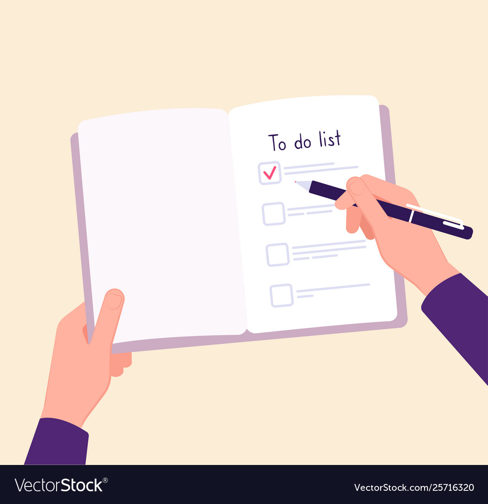 To do list concept hands on table writing memo vector image
