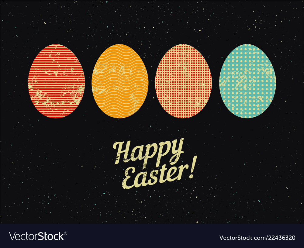 Typographical grunge easter greeting card