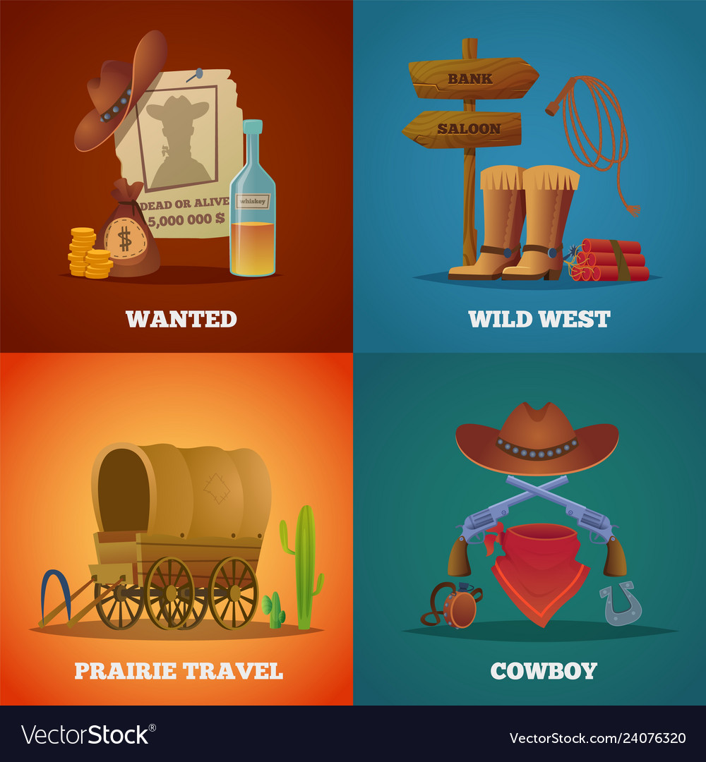 wild west collections western cowboys horse lasso vector