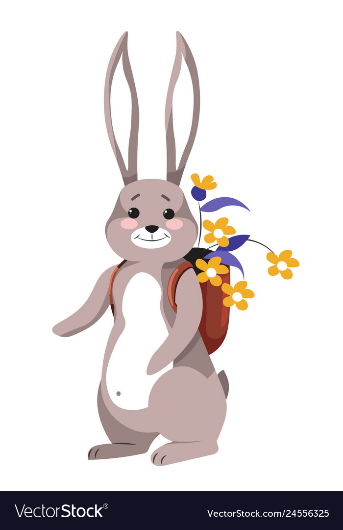Bunny carrying flowers in rucksack happy hare