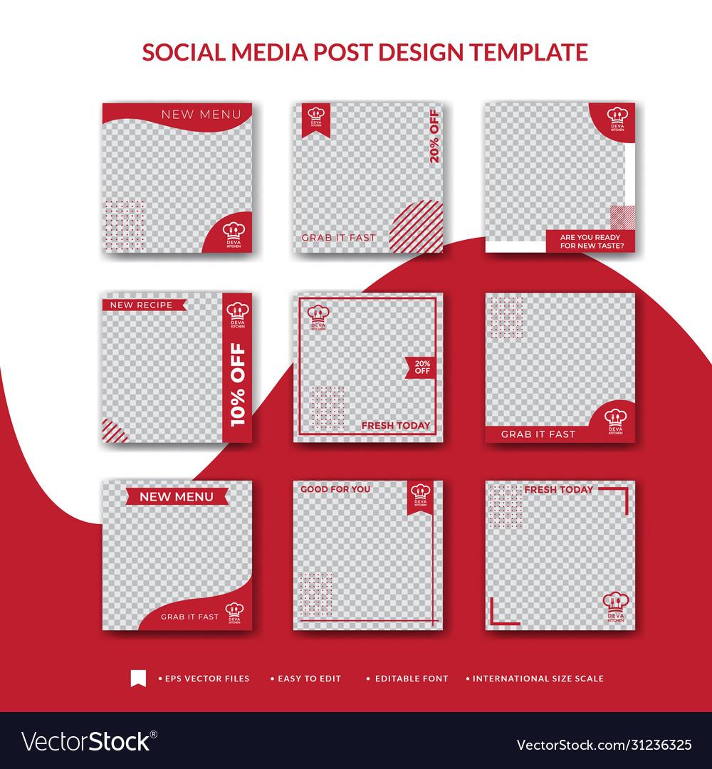 Cakes Social Media Post Design Template Royalty Free Vector