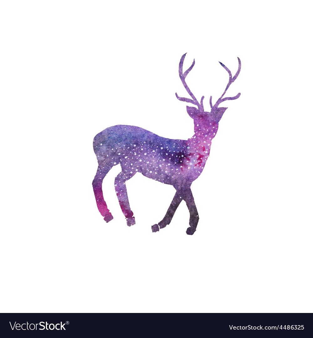 Cosmic deer Watercolor galaxy deer on the white