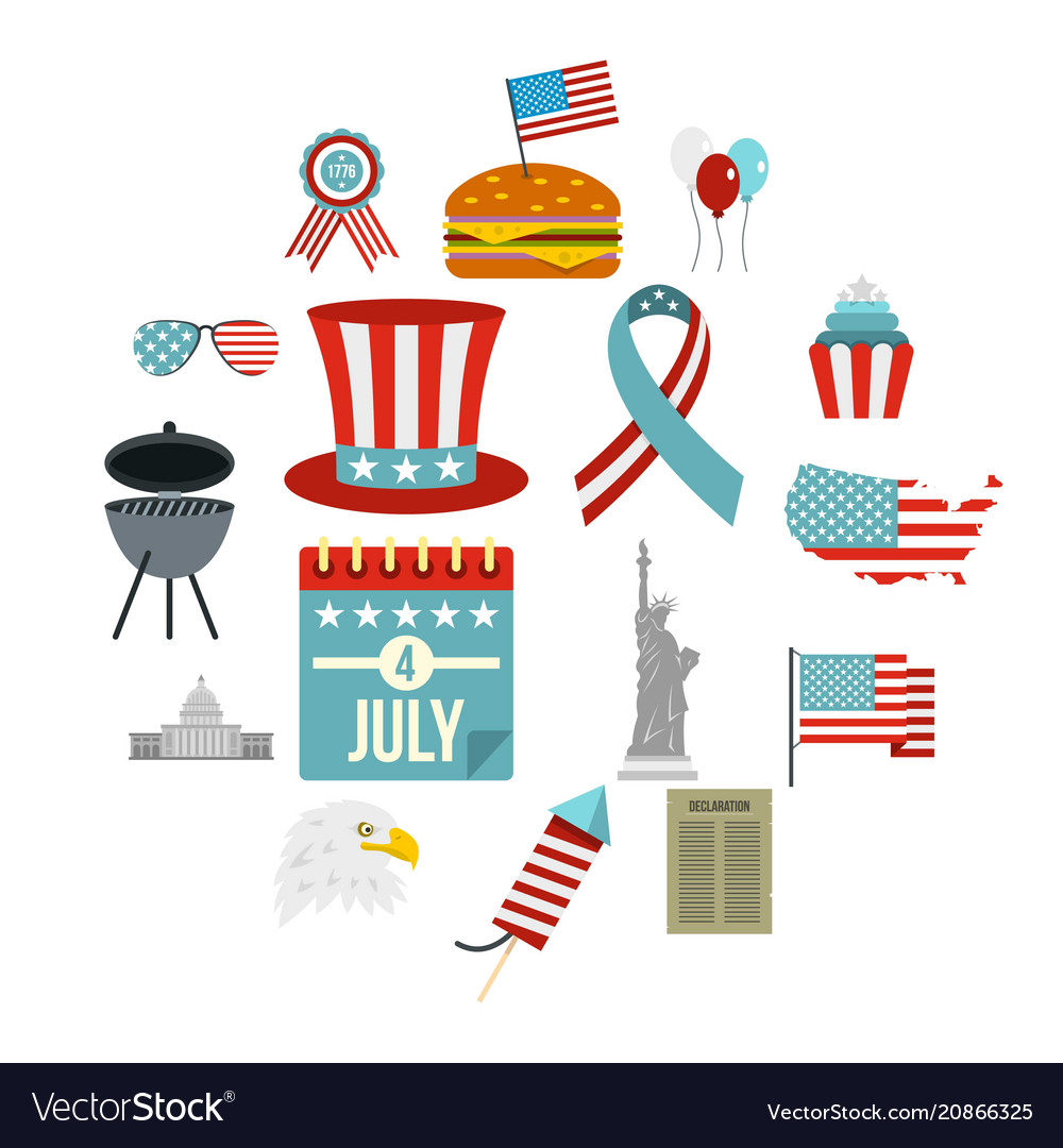 Independence day flag icons set in flat style vector image