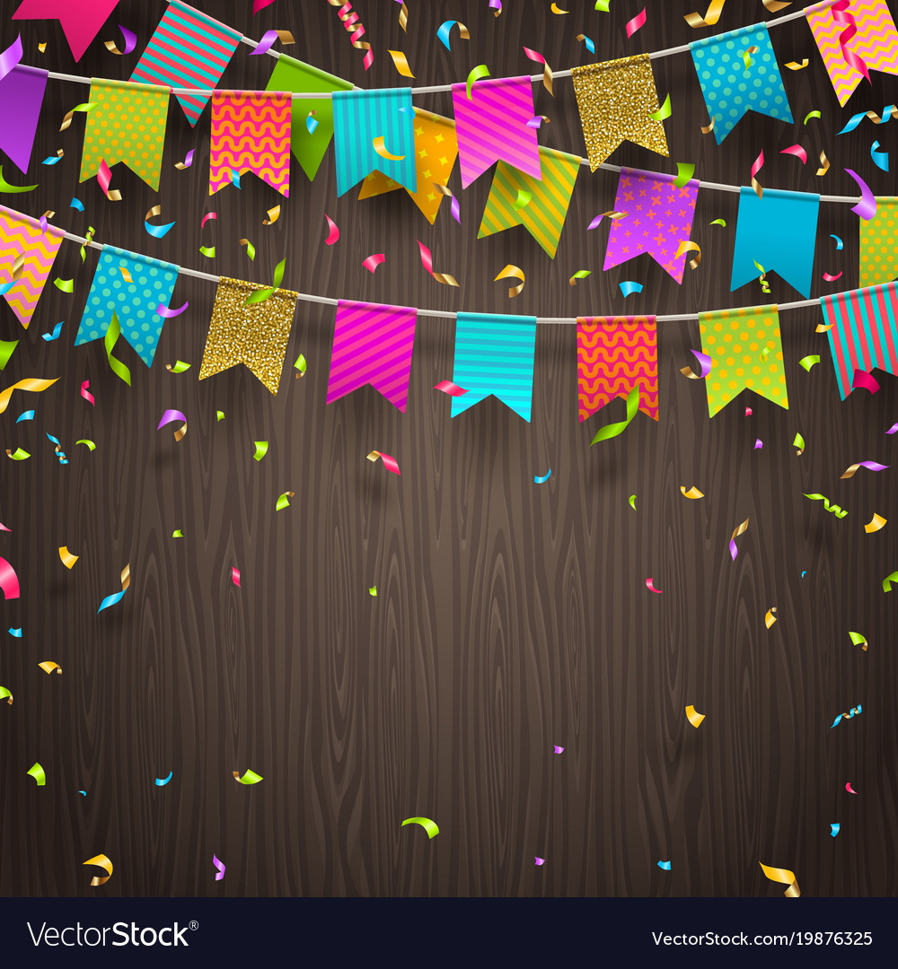Multicolored flags garlands