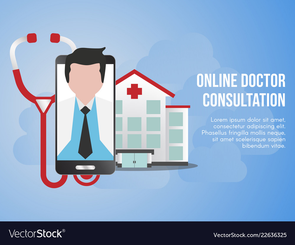 Online doctor consultation concept design template