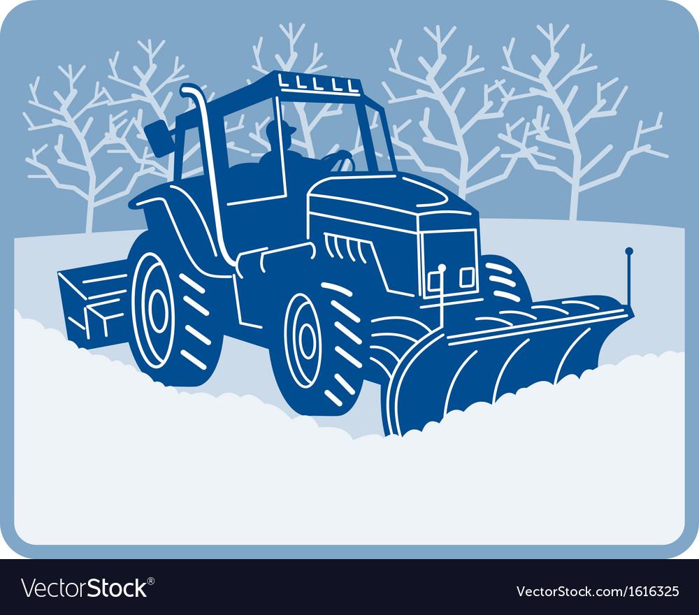 Snow plow tractor plowing winter scene