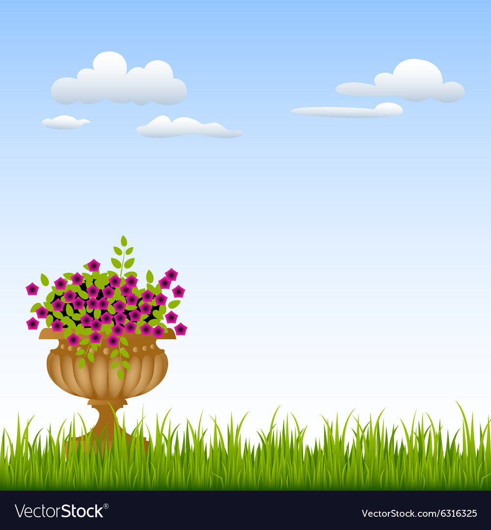 Vase with flowers on a green grass in front of