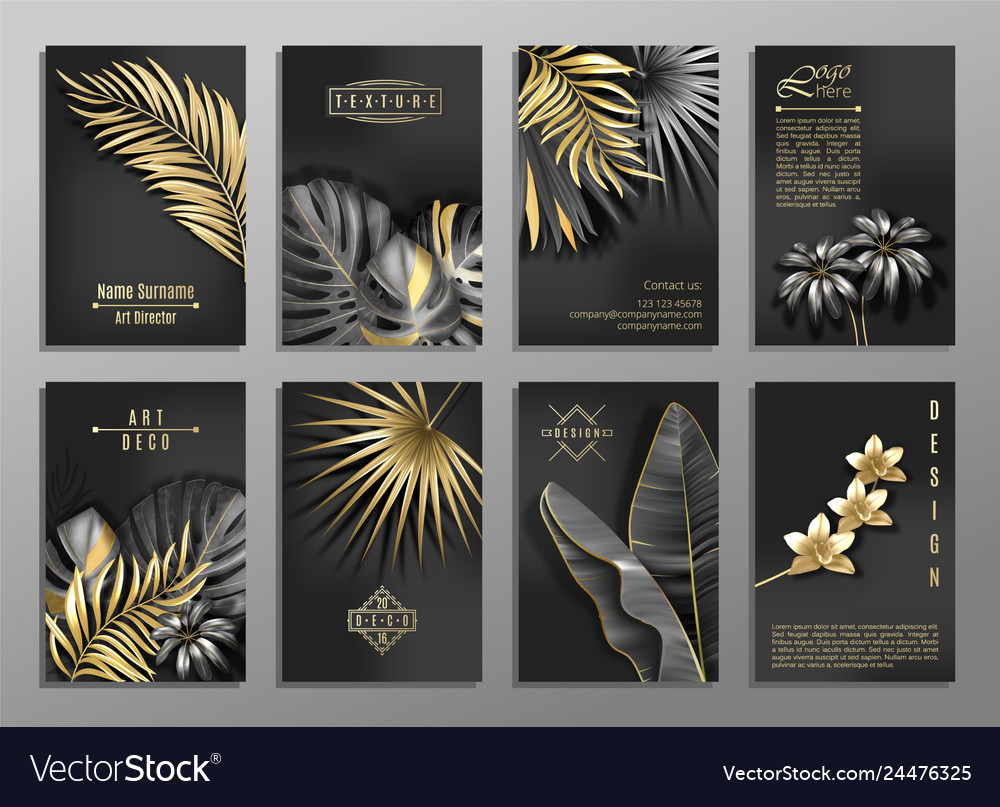 Vertical invitation 8 cards set with black