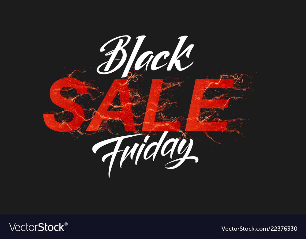 Black friday sale text with red fire flames