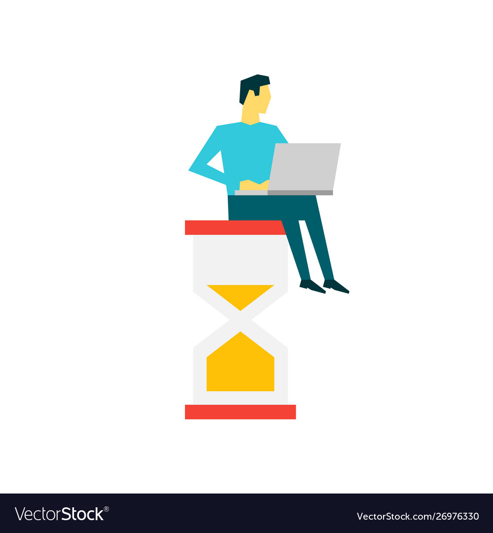Businessman with laptop sitting on a big hourglass